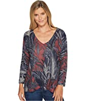 Nally & Millie - Printed V-Neck Navy Top