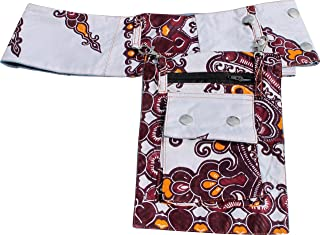 Full Funk Africa Dashiki Bold Print Large Button Fabric Belt with Hanging Pocket