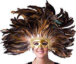Zucker Feather Large Carnival Costume Feather Headdress - Natural Halloween Mask Cosplay Party Hair Accessory,