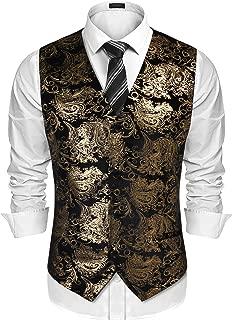 Mens Classic Suit Vest Paisley Floral Tuxedo Dress Waistcoat Vests