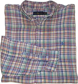 Ralph Lauren ポロシャツ メンズ ビッグ&トール クラシックフィット ボタンダウン 格子柄 リネンシャツ