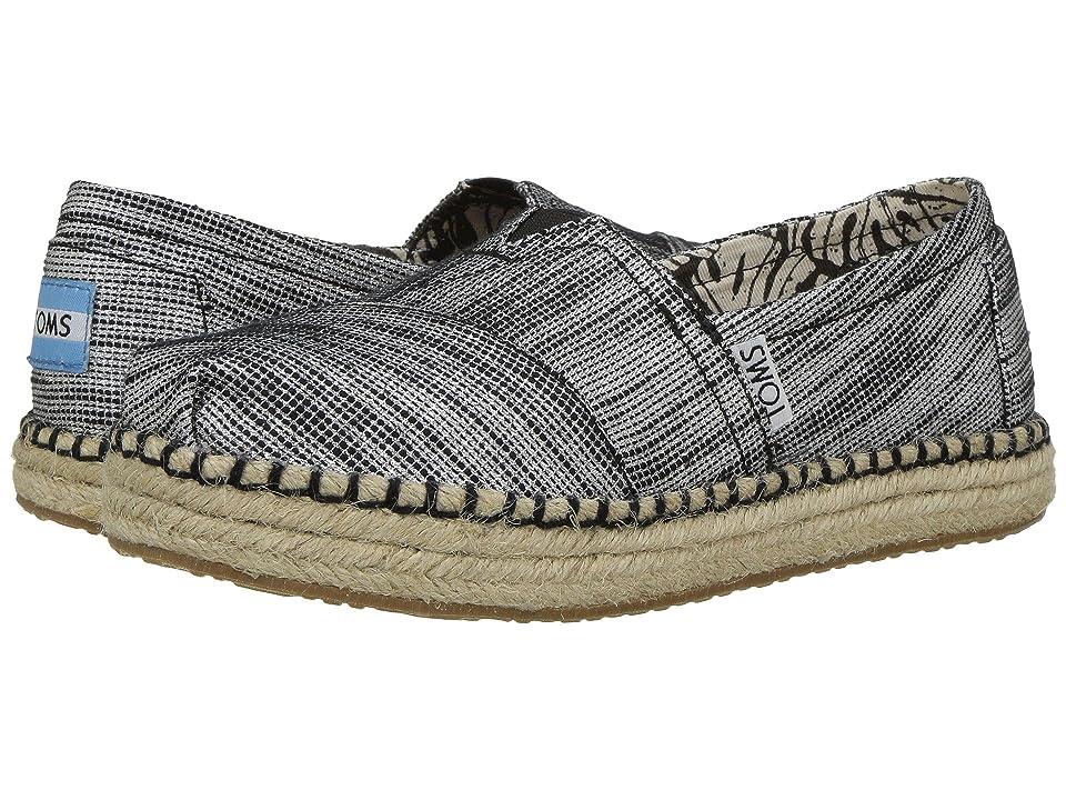 TOMS Kids Platform Alpargata Espadrille (Little Kid/Big Kid) (Black Slubby Metallic) Girls Shoes