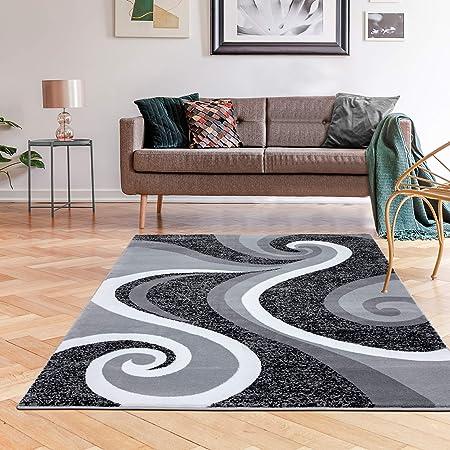 Amazon Com 0327 Gray White Black 5 2x7 2 Area Rug Abstract Carpet Furniture Decor