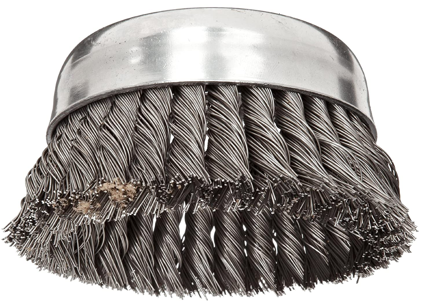Weiler Wire Cup Brush, Threaded Hole, Steel, Partial Twist Knotted, Single Row, 5