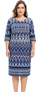 Chicwe Women's Plus Size Stretch Zigzag Printed Cashmere Touch Shift Dress - Knee Length Casual and Work Dress