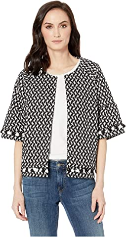 Knit Jacquard Elbow Sleeve Jacket with Pom Poms