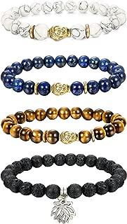 Thunaraz 4pcs 8MM Unisex Buddha Bracelets Lava/Tiger Eye/Lapis/Turquoise Energy Stone Mala Beads with Lotus Charm