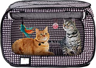 Cat Crate, Stress Free Travel Cat Kennel, Portable Indoor Outdoor Pet Crate, Cat Cage Condo Includes Storage Bag, 4 Cat Toys