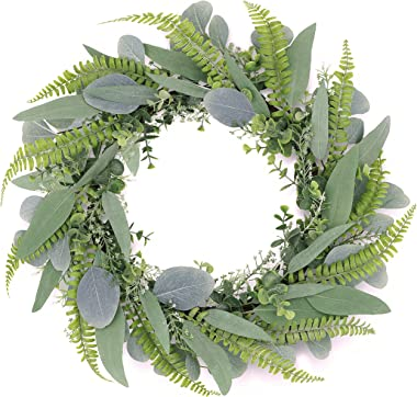 Tiny Land 18 Inch Green Eucalyptus Wreath for Front Door- Handicraft Bamboo Frame with Versatile Silk Leaves - Ideal Spring & Summer Decorating for Indoor & Outdoor Use