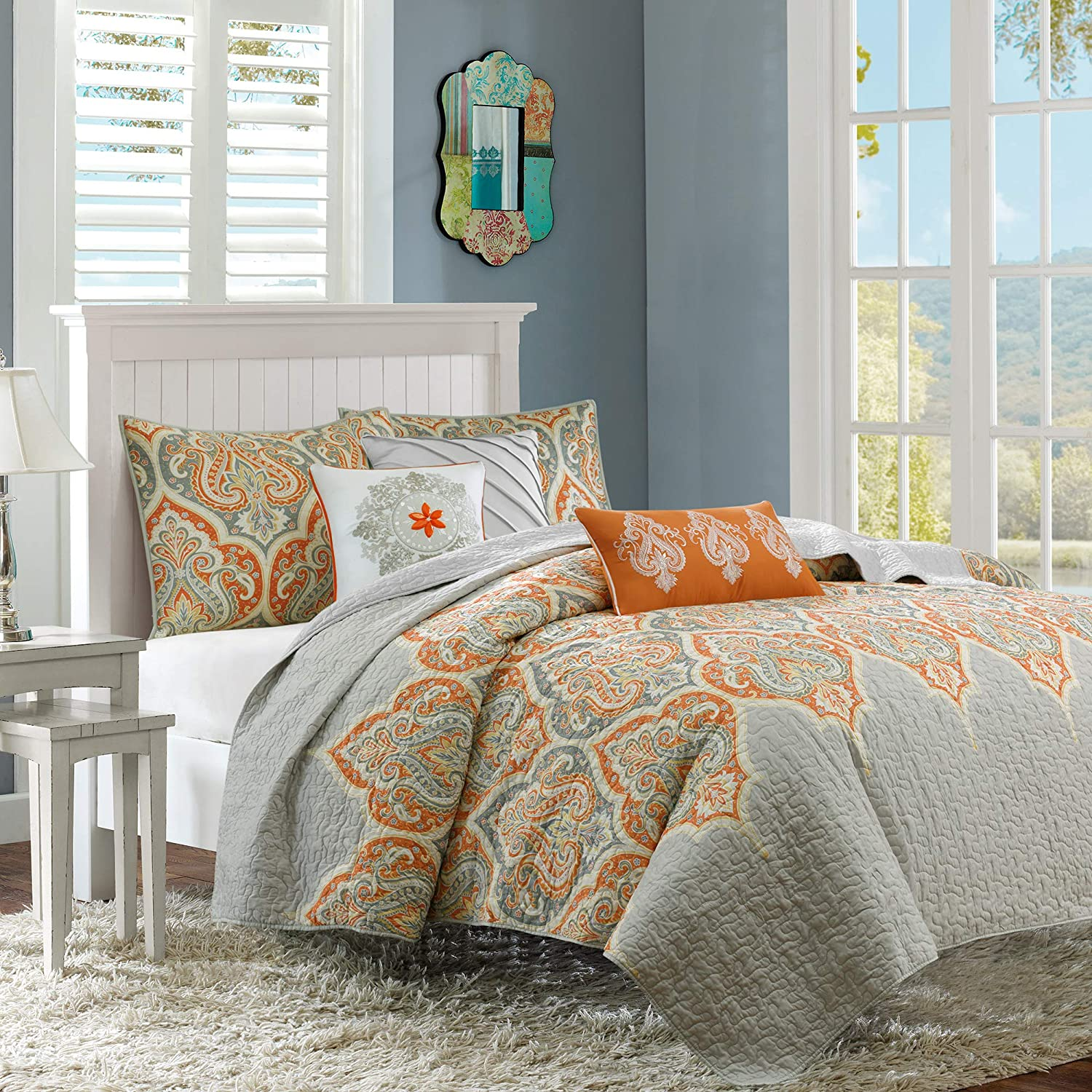 Madison Park Nisha 6 Piece Quilted Coverlet Set, orange, Full Queen