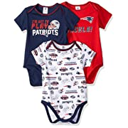 NFL New England Patriots Baby-Boy 3 Pack Short Sleeve Variety Bodysuit, Team Color, 0-3 Months