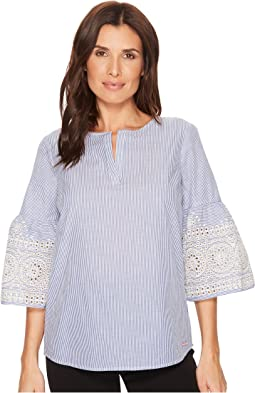 Ivanka Trump - Woven Cotton Bell Embroidered Sleeve Blouse