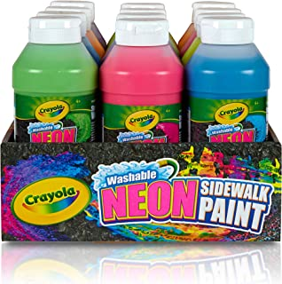Crayola Washable Neon Sidewalk Paint 6 Color Variety Pack, 8 Ounce Bottles (12 Count) Outdoor Art Gift for Kids 4 & Up, Easy Clean, Combines w Sidewalk Chalk to Create Vivid Outdoor Creations
