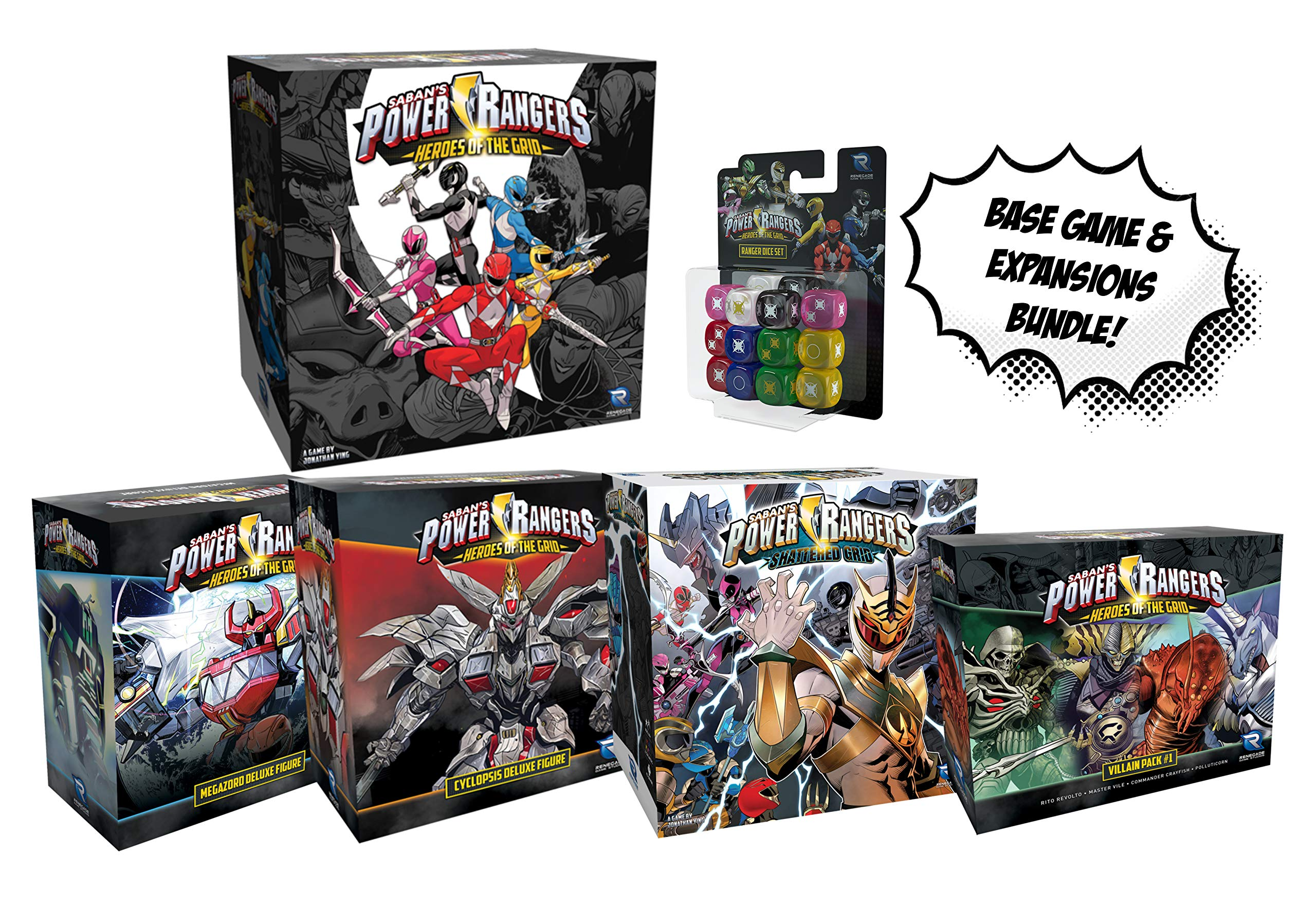 Power Rangers: Heroes of The Grid Juego de Mesa y Todas Las expansiones y Juego de Dados. Power Rangers Bundle.: Amazon.es: Juguetes y juegos