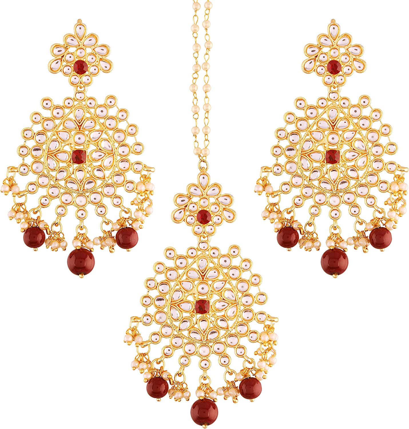 I Jewels 18k Gold Plated Indian Wedding Bollywood Kundan & Pearl Earring Set with Maang Tikka for Women