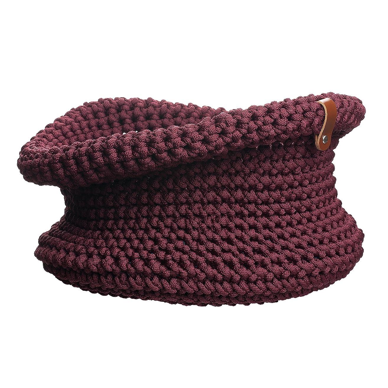 Dark Red Knitted Basket H10