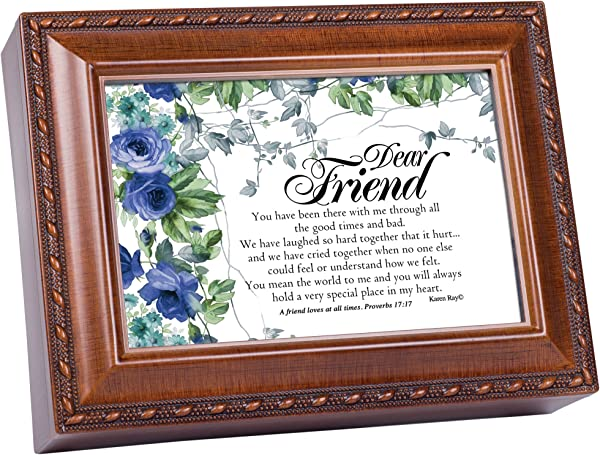 Cottage Garden Forever More Friends Are For Woodgrain Keepsake Music Box Plays Amazing Grace