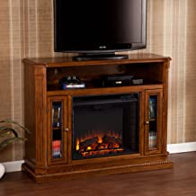 Atkinson Media Fireplace TV Stand - Remote Control Heater - Rich Brown Oak Wood Finish