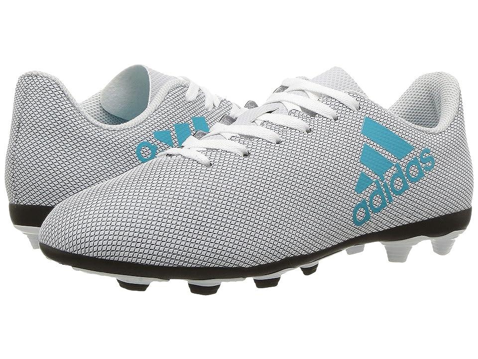 adidas Kids X 17.4 FxG J Soccer (Little Kid/Big Kid) (Footwear White/Energy Blue/Clear Grey) Kids Shoes