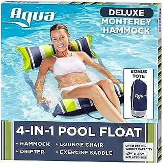 Aqua Deluxe Resort Quality Monterey Hammock, 4-in-1 Multi-Purpose Inflatable Pool Float (Saddle, Lounge Chair, Hammock, Dr...