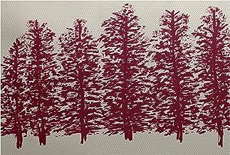 E By Design RFN341IV2RE6-35 Through the Woods Flower Print Rug, 3' x 5', Cranberry/Burgundy