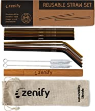 Zenify Reusable Metal Straws with Case + Bag + Cleaners - Stainless Steel Kids Smoothie Eco Friendly Drinking 8 Straight & Bent Angled Straw Gift Set - Plastic Paper Glass Silicone Bamboo Alternative