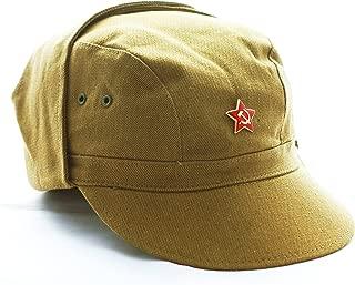 Ganwear V/éritable Calotte Russe sovi/étique URSS Uniforme Militaire Pilotka Chapeau avec Badge /étoile Rouge