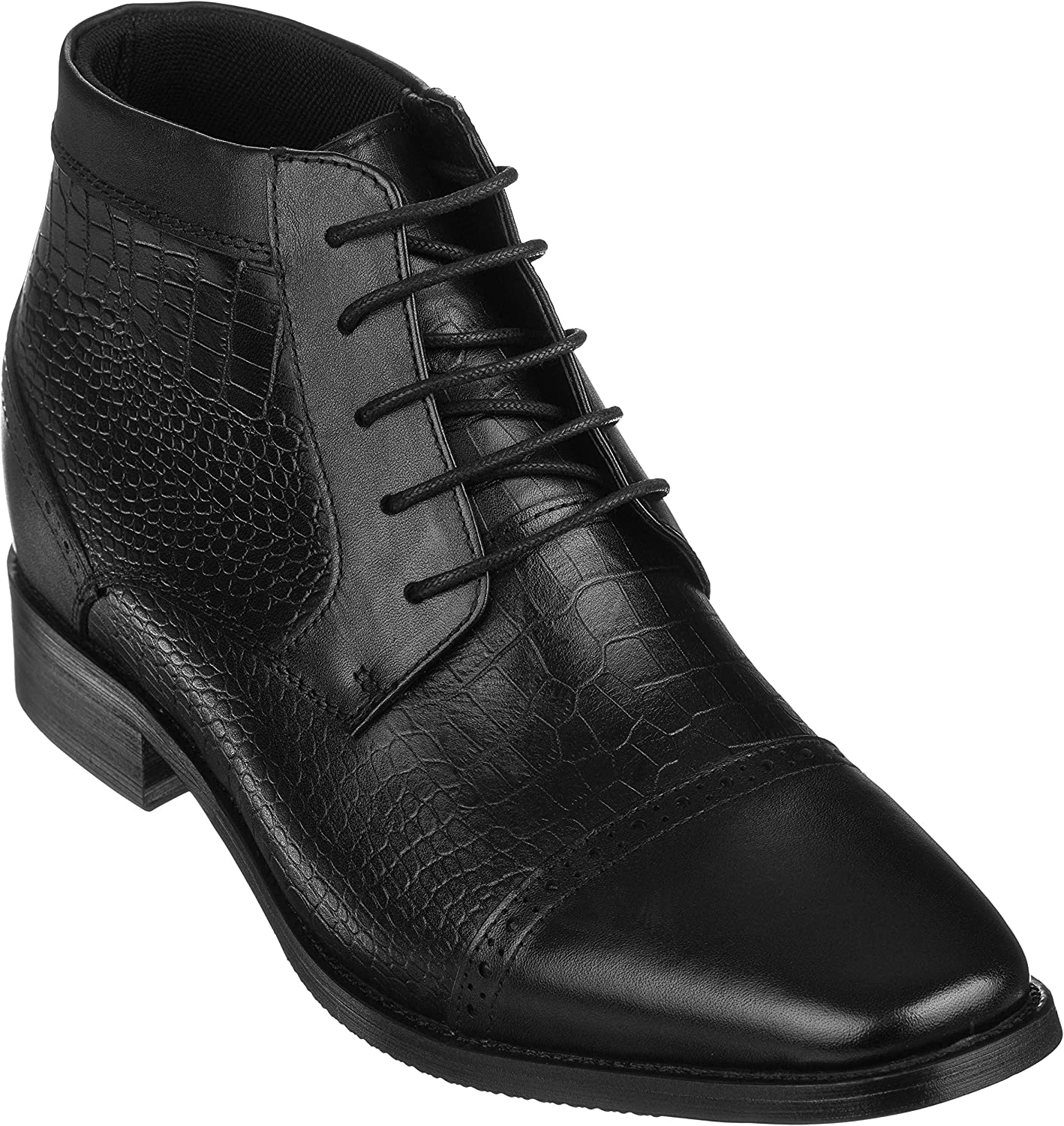 CALTO Men's Invisible Height Increasing Elevator shoes - Black Premium Leather Lace-up High-top Ankle Boots - 2.8 Inches Taller - T54023