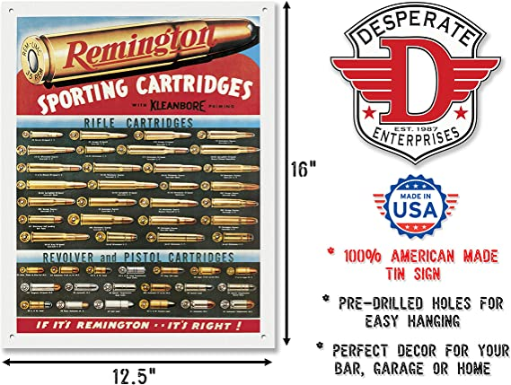 Remington revolver cartridges firearm metal sign perpetual plaques
