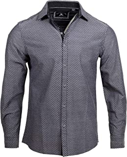 Rock Roll n Soul Men's 'Ching-a-Ling' Long Sleeve Button Down Black Checkered Casual Dress Shirt 337B