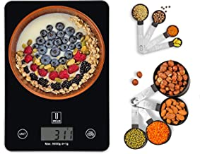 Upscaler Digital Food Scale WITH 8pcs Measuring Cups & Spoons set, Accurate Kitchen Weighing Scale, Batteries Included, Pe...