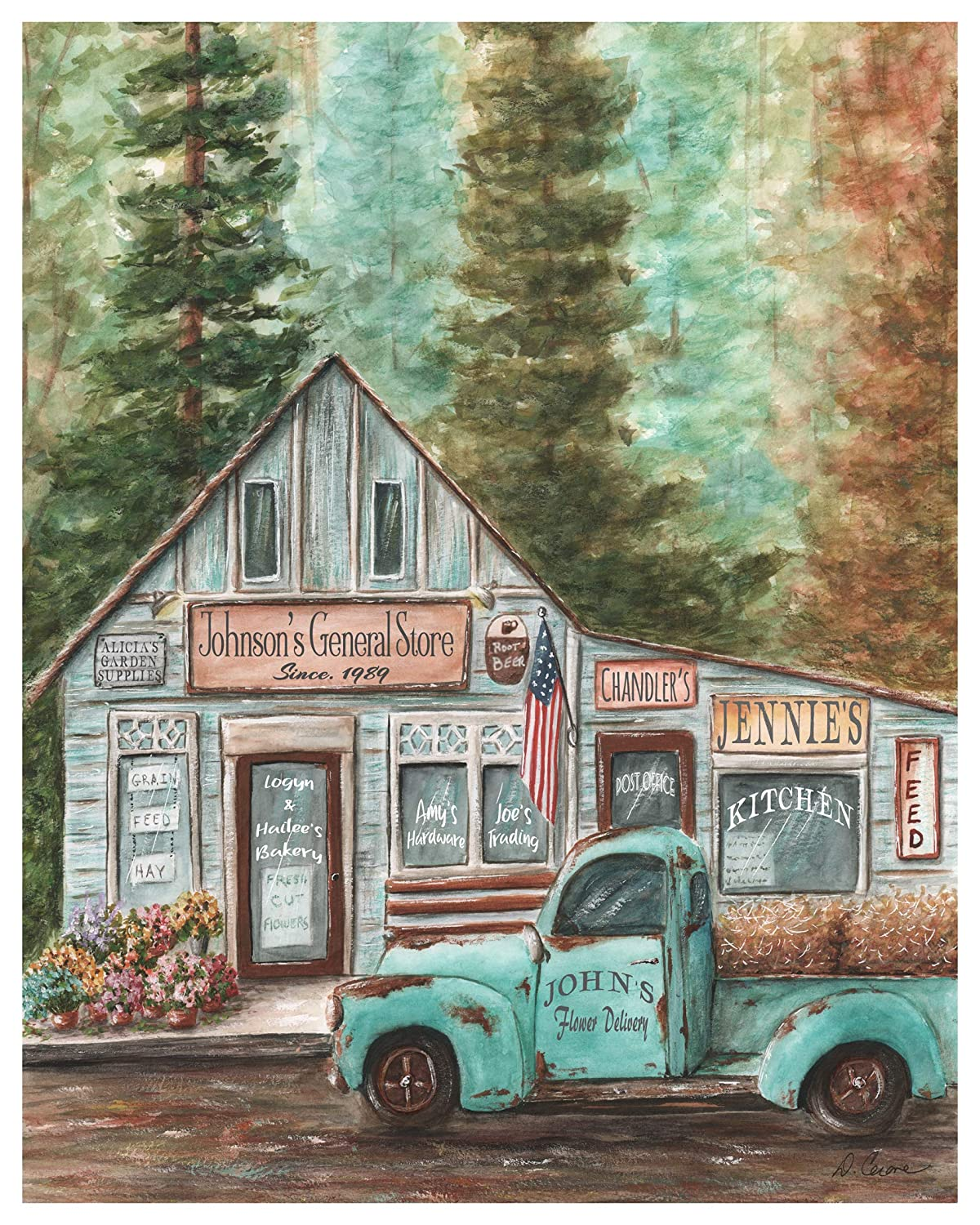 OFFicial shop Rustic Blue Truck Decor Personalized Name Wall Art Farm depot Family