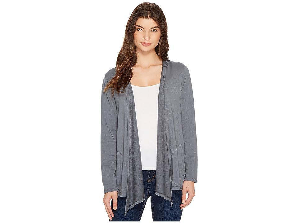 Mod-o-doc Cotton Modal Fleece Button Hem Hooded Cardigan (Falcon) Women