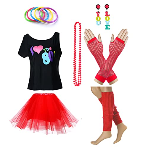 73176a3c957 Women s I Love The 80 s T-Shirt 80s Outfit Accessories