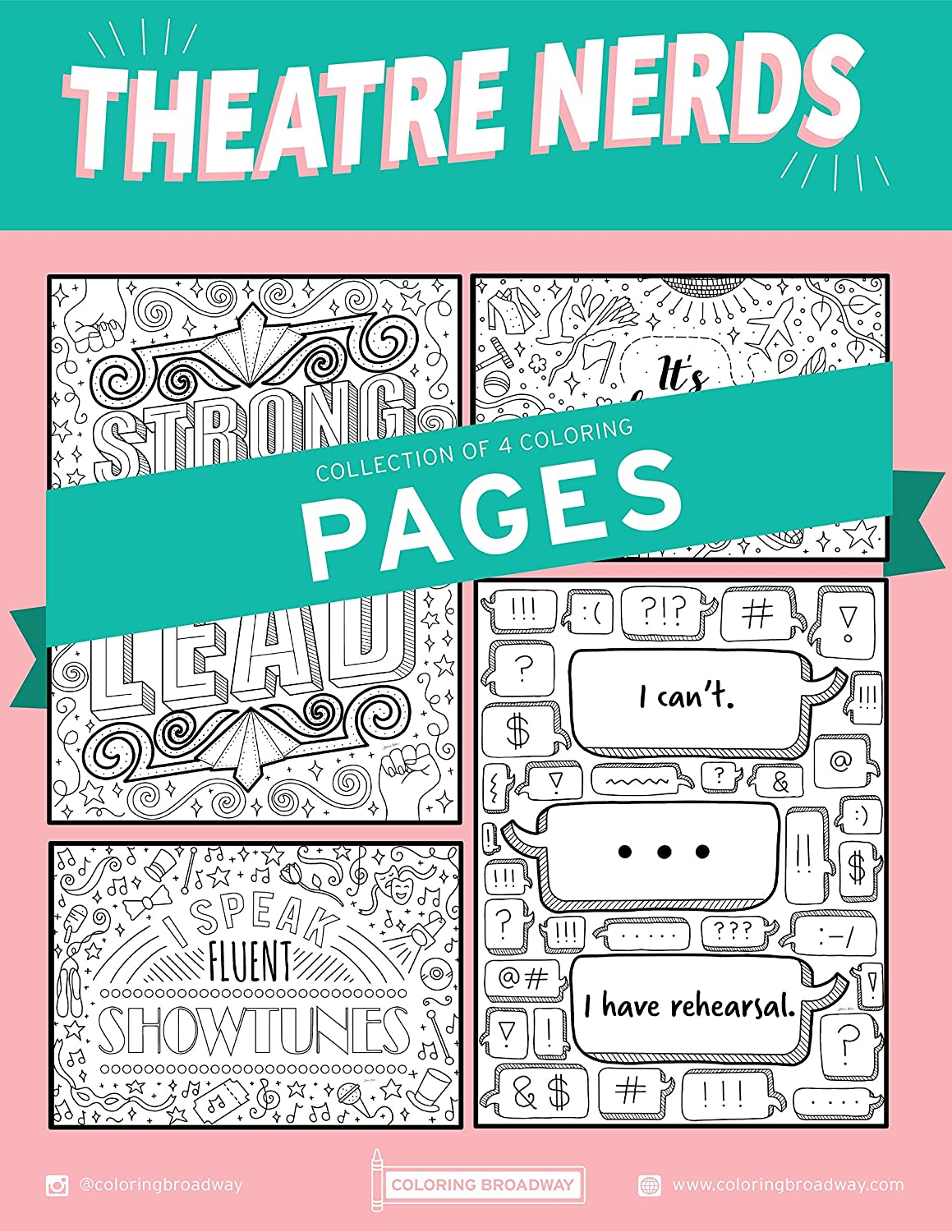 THEATRE NERDS Max 52% OFF COLORING PAGES by Hand-drawn Brand new Broadway i Coloring