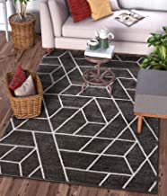 Well Woven Plaza Geometric Grey Modern Lines Angles Tiles Shapes Area Rug 5x7 (5'3