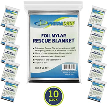 "Primacare HB-10 Emergency Foil Mylar Thermal Blanket (Pack of 10), 52"" Length x 84"" Width, Silver"
