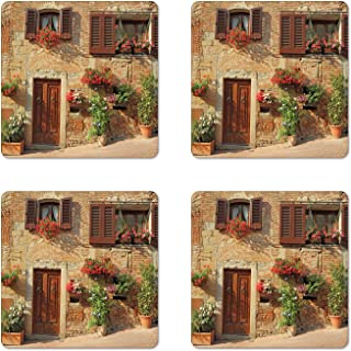 Lunarable Tuscan Coaster Set of 4, Picturesque Lane with Mediterranean Architecture Flowers Italian Town, Square Hardboard Gloss Coasters, Standard Size, Pale Brown