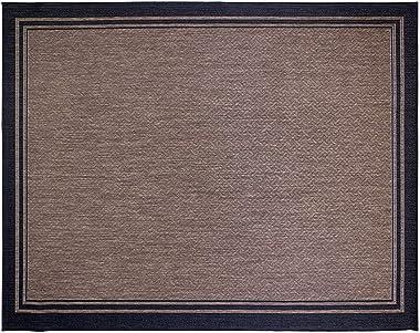 Gertmenian Tropical Collection Outdoor Rug Patio Area Carpet, 9x13 X Large, Nut Brown Black Border