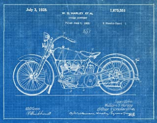 Fresh Prints of CT Original Harley Motorcycle Artwork Submitted in 1928 - Motorcycles - Patent Art Print - Blueprint