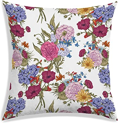 RADANYA Floral Design Polyester Decorative Cushion Covers Square Cushion Cover Sofa Cushion Cover Pillow Covers 16X16 Inche