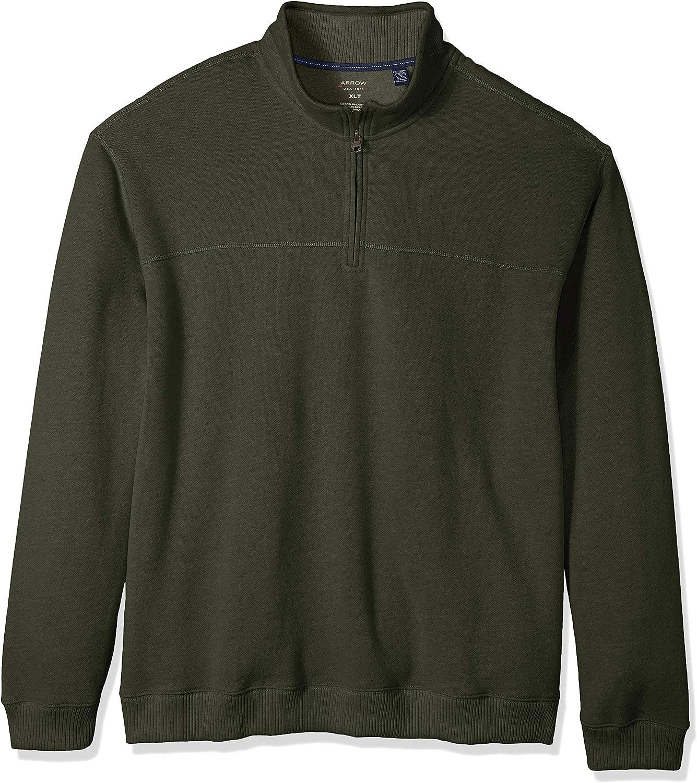 Arrow 1851 Men's Big and Tall Saranac Long Sleeve 1/4 Zip Sueded Fleece Pullover