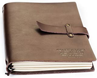 Double Creek Refillable Genuine Leather Journal Embossed For I Know The Plans Jeremiah 29:11 Scripture – 8.5 x 6 inch Includes (3) 30-Page Lined Notebooks - Vintage Style Real Leather Notebook Diary