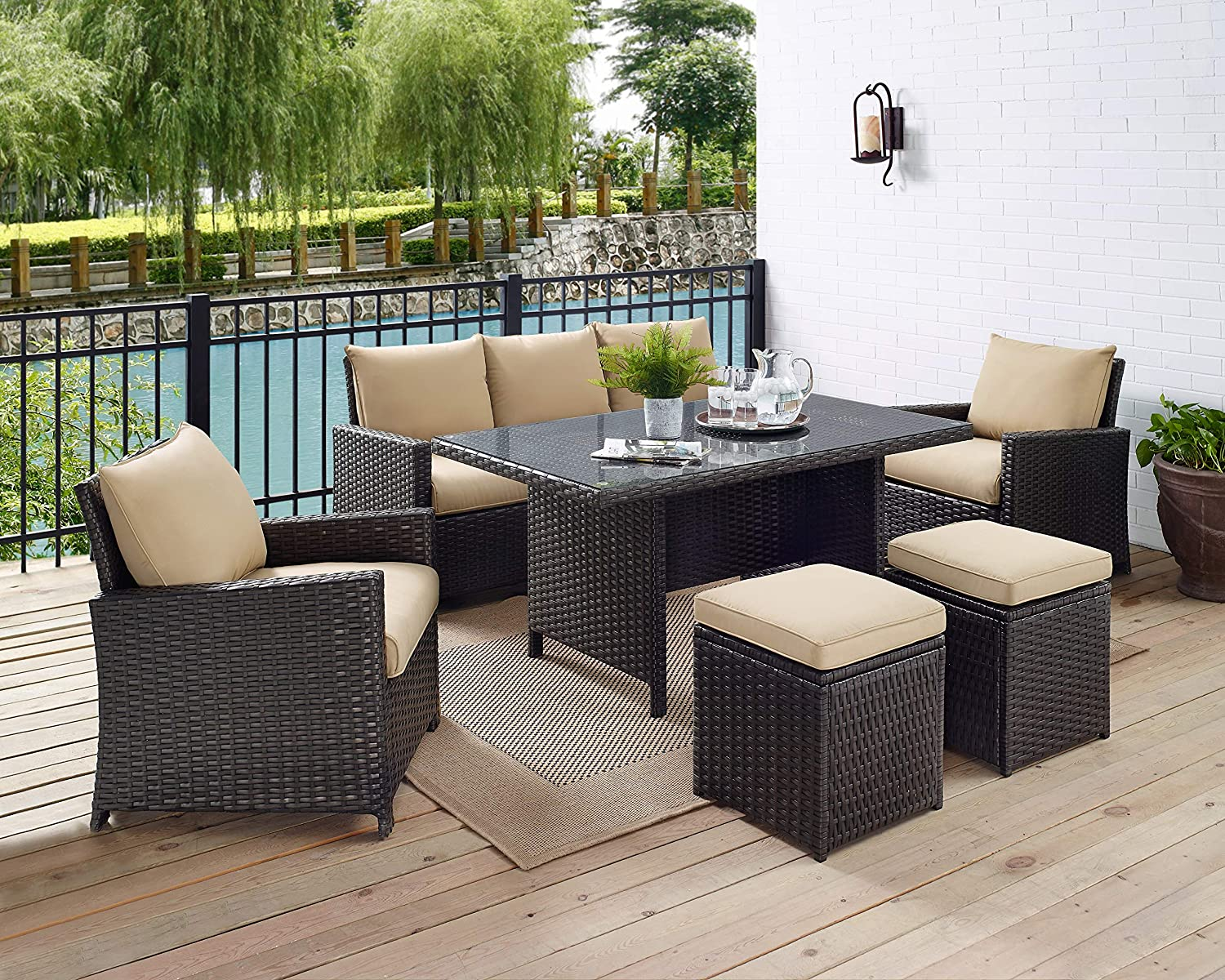 Glenwillow Home 6-Piece Wicker Patio Dining Set