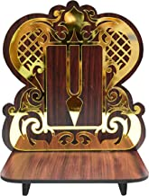 VRINDAVANBAZAAR.COM Handcrafted Wooden Sinhasan for Dieties with Tilak Design in Background/Dimensions: 5