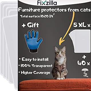 Furniture Protectors from Cats - 5 XL Pack - Cat Scratch Deterrent - Cat Repellent for Furniture - Couch Protector from Cats - Includes Grooming Glove