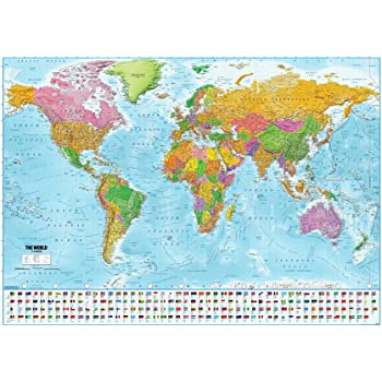 Close Up Póster XXL Mapa del Mundo con Banderas - Versión 2020 [En Inglés] (140cm x 100cm) + 1 Paquete de tesa Powerstrips® (20 Tiras): Amazon.es: Hogar