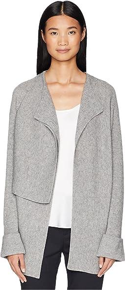 Drape Front Wool Cardigan