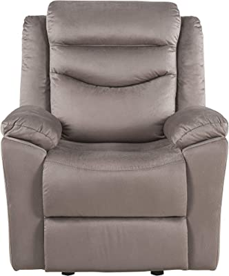 Benjara Fabric Upholstered Glider Recliner with Tufted Back Cushions, Brown