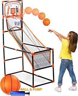 Bundaloo Arcade Basketball Game | Best Portable Hoop Shooting Games for Kids | Indoor & Outdoor Mini Sports Playset | Fun Goal Training Toy for Little Toddlers to Big Boys (Single Shot Arcade)